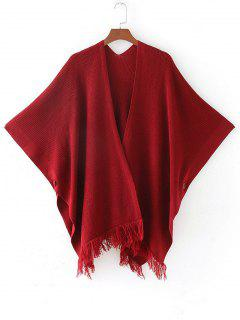 Open Front Fringed Cape Cardigan - Red
