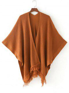 Open Front Fringed Cape Cardigan - Light Coffee