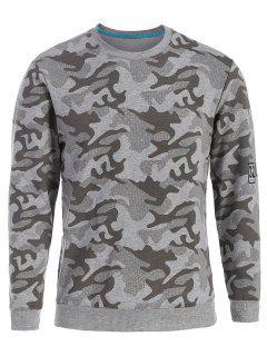 Sweatshirt Mit Rundhalsausschnitt Und Camomuster - Grau Xl
