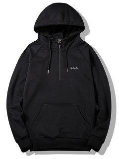 Half-zipper Flocking Hoodie - Black L
