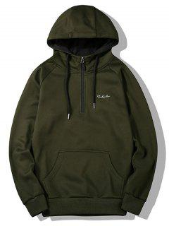 Half-zipper Flocking Hoodie - Army Green L