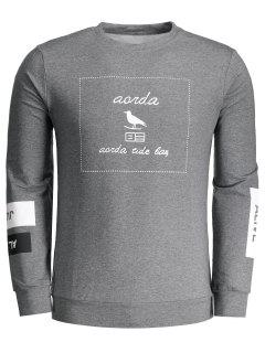 Graphic Marled Crew Neck Sweatshirt - Deep Gray L