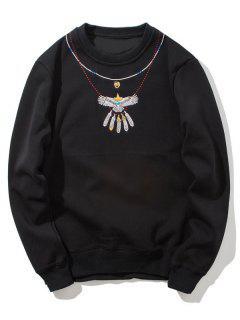 Crew Neck Flocking Embroidered Sweatshirt - Black 3xl