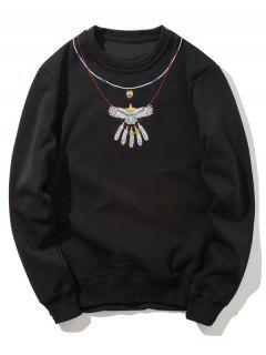 Crew Neck Flocking Embroidered Sweatshirt - Black L
