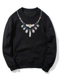 Flocking Beaded Embroidered Sweatshirt - Black 3xl