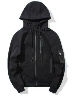 Flocking Zip Up Hoodie - Black 3xl
