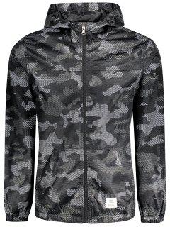 Patched Fishnet Camo Windbreaker - Black 2xl
