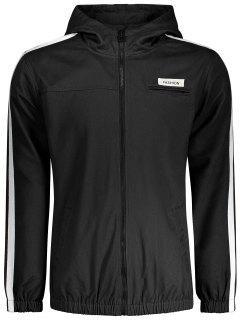 Graphic Patch Stripe Windbreaker Jacket - Black 3xl