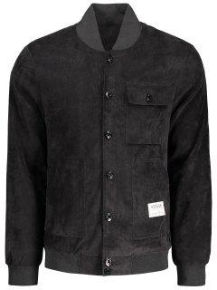 Button Up Patched Corduroy Jacket - Black 3xl