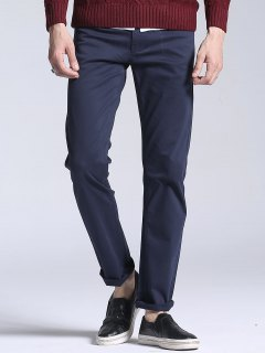 Slim Fit Stretch Casual Pants - Deep Blue 38
