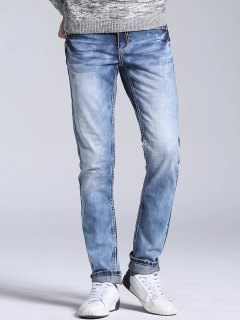 Straight Leg Faded Jeans - Light Blue 36