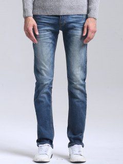 Scratched Straight Leg Jeans - Blue 34