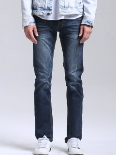 Zipper Fly Men Straight Jeans - Deep Blue 34