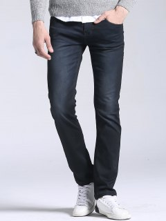 Regular Fit Straight Leg Jeans - Black 36