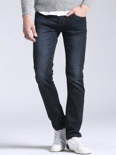 Regular Fit Straight Leg Jeans - Black 34