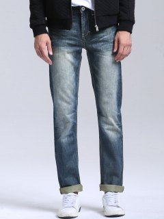 Bleach Wash Zipper Fly Straight Jeans - Stone Blue 34