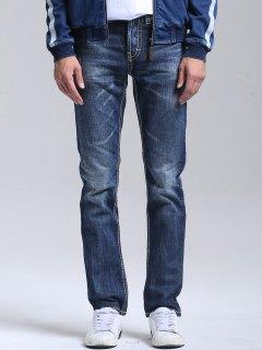 Bleach Wash Straight Jeans - Bleu 34