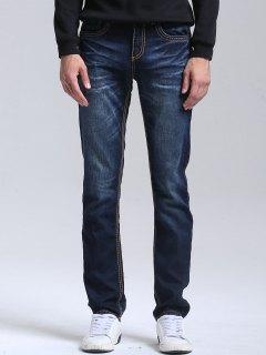 Pantalon Denim Droit à Braguette à Glissière - Bleu Profond 38
