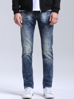 Zipper Fly Vintage Straight Jeans - Blue 34