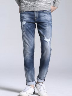 Zipper Fly Vintage Ripped Straight Jeans - Light Blue 38