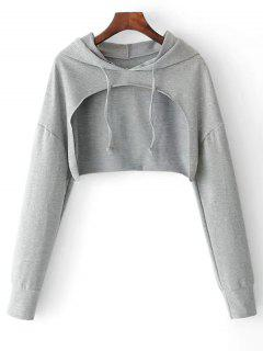 Cape Drop Shoulder Crop Hoodie - Gray