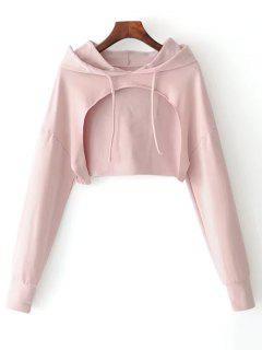 Cape Drop Shoulder Crop Hoodie - Light Pink