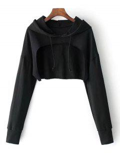 Cape Drop Shoulder Crop Hoodie - Black