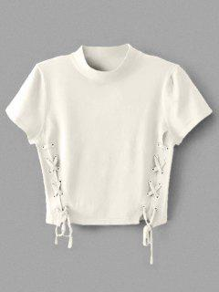 Crew Neck Knit Lace-up Crop Top - White S