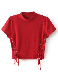 Crew Neck Knit Lace-up Crop Top - Red M