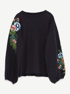 Drop Shoulder Embroidery Sweatshirt - Black M