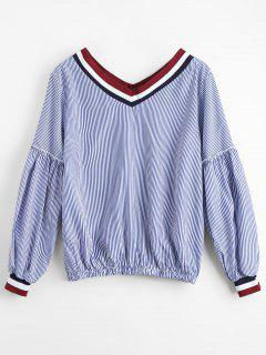 Striped V Neck Casual Blouse - Stripe