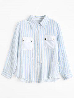 Chemise à Boutons à Rayures Avec Poches à Rabat - Rayure S