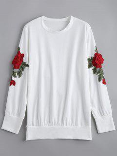 Sweat-shirt Brodé à Fleurs Tunique - Blanc Xl