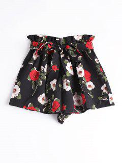 Smocked High Waist Belted Floral Shorts - Black