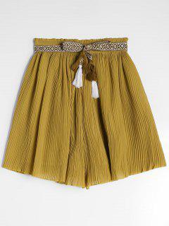Chiffon Pleated Belted Shorts - Yellow