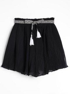 Chiffon Pleated Belted Shorts - Black