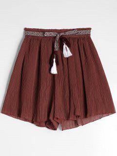Chiffon Pleated Belted Shorts - Fiesta