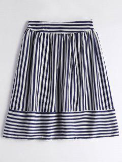 Smocked High Waist Striped Skirt - Purplish Blue