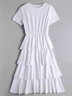 Vestido De Cuello Redondo Con Capas - Blanco L