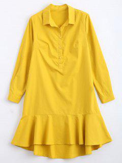 Ruffled Hem Half Buttoned Casual Dress - Yellow L
