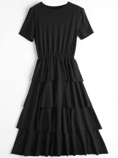 Round Collar Layered Dress - Black S