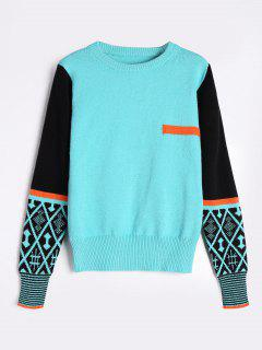 Color Blocking Crew Neck Sweater - Fresh