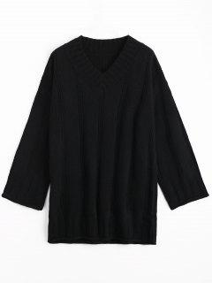 Long Sleeve Cable Knit Tunic Sweater - Black