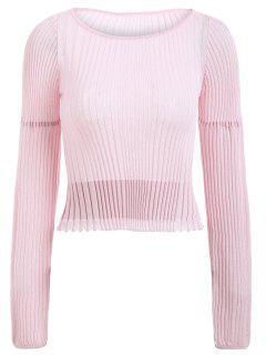 Sheer Cropped Lantern Sleeve Sweater - Papaya