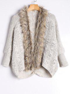 Faux Fur Trimmed Cable Knit Cardigan - Light Khaki