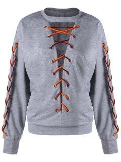 Lace Up Low Cut  Plus Size Sweatshirt - Light Grey 3xl