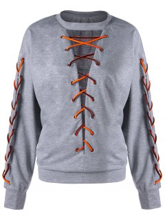 Lace Up Low Cut  Plus Size Sweatshirt - Light Grey 5xl