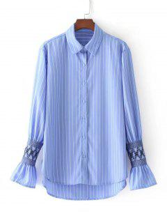 Embroidered Flare Sleeve Striped Shirt - Stripe S