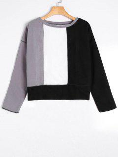 Drop Shoulder Color Block Top - Gray