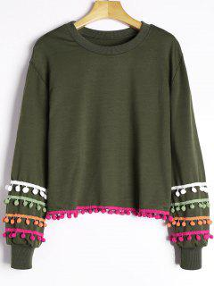 Colored Pom Pom Trimmed Sweatshirt - Army Green